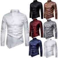 Ethnic Print Mens Button Casual Shirts Slim Fit Silk Long Sleeve Dress Shirts