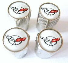 CORVETTE VALVE CAPS Chevrolet Chevy TIRES RIMS WHEELS ZR-1 Z06 2015 C6 C7 WHITE