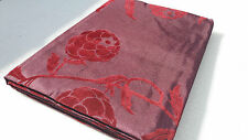 """PLUM AUBERGINE FAUX SILK CURTAINS WITH WINE EMBOSSED FLOCK FLORAL LND 90"""" X 90"""""""