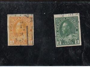 CANADA (MK6723) # 136-137 F-USED 1-2cts 1924 KGV ADMIRAL IMPERFS /ORG,GRN CV $70