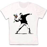 Banksy Flower Thrower Hipster Men Women Cool Gift Unisex Retro T Shirt 2474