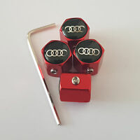 AUDI RED ANTI THEFT DUST VALVE CAPS LIMITED ALL MODELS RETAIL PACK A6 TT Q2 R8