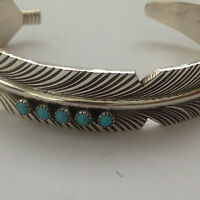 Sterling Silver Navajo Handmade Feather with 5 Turquoise Stone Cuff Bracelet