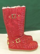 new Urban Glitter Red Rhinestones Winter Knee Cute Boots Girl Size 13