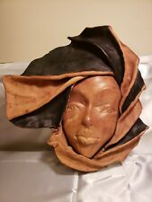 VTG Leather Mask / Face Large Hand Crafted Wall Art Decorative Africa Tribal #26