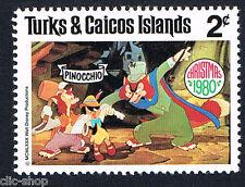 WALT DISNEY 1 FRANCOBOLLO TURKS & CAICOS ISLANDS PINOCCHIO 2c nuovo