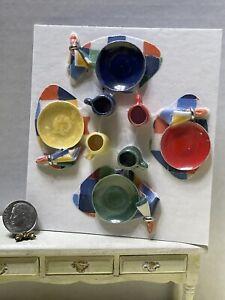 Artisan BARB Fiestaware 4 Place Settings Dishes Linens Dollhouse Miniature 1:12