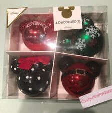 Primark Disney 4x Mickey Mouse Christmas Baubles Tree Decoration Hanging Red