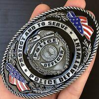 Police Belt Buckle Western Cowboy SILVER Skull Long HIGH QUALITY