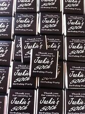 30 x Personalised Mint Chocolate Neapolitan Favour Birthday Black & Silver