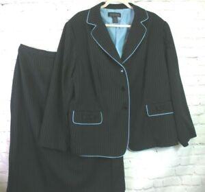 BLACKER by STANLEY BLACKER  Black Blue Pinstripe Lined Skirt Jacket SUIT size 20