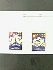 MNH Stamp Label -  Poland WWII Poster Cinderella Red Cross - Ship, Airplane