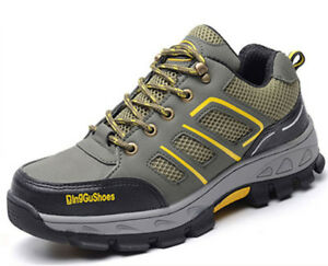 Men's Flats Safety Shoes Steel Toe Sole Breathable Work Hiking Waterproof Casual