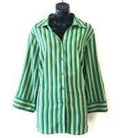 Elementz Womens Stretch Green Striped Button Blouse Size 1X Casual Top Shirt