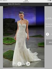"ines di santo ""lara"" wedding dress & veil - strapless lace, tailored to size 4/6"
