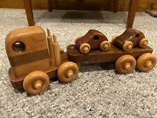 Wooden Toy Truck Transporting Two Cars