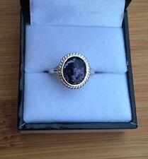 Rare Derbyshire Blue John Solid Silver Rope Edge Vintage  Style Ring Size K J563