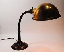 Vintage Greist American Steampunk Industrial goose neck flexible brass lamp