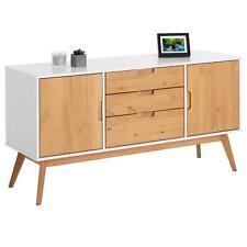 Buffet commode style scandinave 3 tiroirs 2 portes pin massif blanc/bois teinté