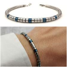 Bracciale da uomo in acciaio inox colore argento blu braccialetto pepite sfere