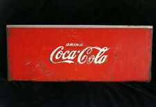 VINTAGE EMBOSSED WHITE ON RED DRINK COCA COLA COOLER LID STAINLESS STEEL TOP