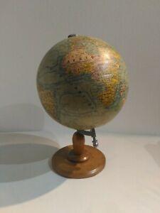 Antique Globe en Bois Ans '50 del '900 Diamètre 25 CM Lettrage En Français