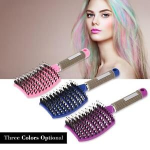 Curved Boar Bristle Hair Brush Massage Comb Detangling Hairbrush f/Women US U3I8