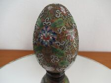 Chinese Cloisonne Egg with stand in Great Colour with Gold Gilt trim