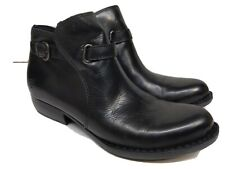 Born Short Boots Black Leather Zip Women Sz 8.5 M