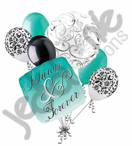 7 pc Always & Forever Aqua Teal Balloon Bouquet Party Decoration Wedding Engaged