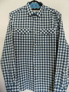 MENS RIVER ISLAND BLUE WHITE CHECK LONG SLEEVE SHIRT SIZE M EXCELLENT CONDITION