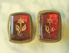 Fabulous Victorian Amber Glass and Gilt Floral Gold Filled Cufflinks!!