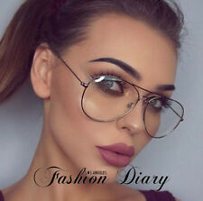 CLEAR LENS OVERSIZED AVIATORS HOT FASHION TRENDY GLASSES METAL RETRO VINTAGE NEW