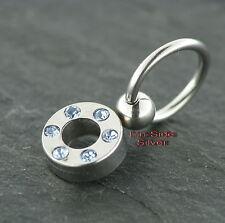 Piercing Ball Closure Ring Klemmring mit Kristallring AQUA Old School Ohrring