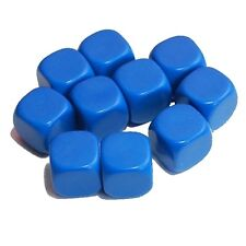 10 Blank Blue Dice, (plastic cubes), 16mm , D6
