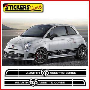 Adesivi fiancate Fiat 695 ASSETTO CORSE fasce fiat 500 abarth assetto corse
