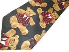 """Teddy Bear in Waistcoat Fratelli Black Necktie Tie 57"""" x 3 3/4"""""""