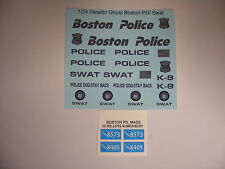 Boston Police Stealth Swat 1:24 Water Slide Decals Put on all Black Vehicles