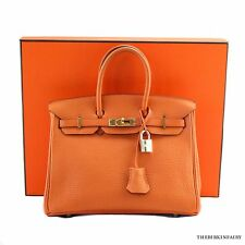 AUTHENTIC HERMES Orange 25cm Birkin w/ Gold Hardware