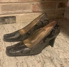 Enzo Angiolini Vintage Faux Snake Block Heel Pumps Black Gray Square Sz 8 EUC