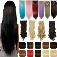 Real Thick 8pcs 18clips Hair Extensions Clip In On Hair As Human Remy Brown bk89