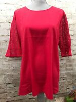 VAN HEUSEN XXL Red Mixed Media Lace Woven Blouse/Top Short Sleeve Lace