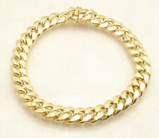 "9"" 9.7mm Mens Royal Miami Cuban Bracelet Box Clasp Lock Real 10K Yellow Gold"