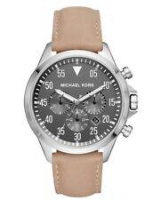 New NIB Michael Kors Men's Chronograph Gage Taupe Leather Strap Watch MK8616