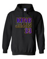 "BLACK Lebron James Los Angeles ""King James 23"" HOODIE HOODED SWEATSHIRT"