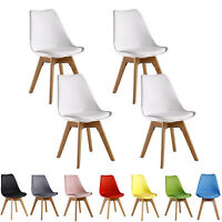 Set of 4 Tulip Jamie Lorenzo Dining Chair, Eiffel Inspired, Solid Wood Plastic