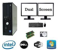 Dell Dual Core 8GB Ram 1TB HDD Windows 7 computadora PC de Escritorio Paquete De Pantalla Dual