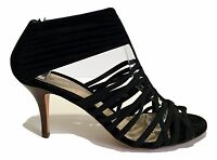 FENDI BLACK STRAPPY SANDALS, 37.5, $695