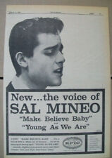 Sal Mineo 1959 Ad- Make Beiieve Baby/Young As We Are  Epic The Voice Of..