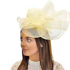 Oversized Gauze Flower & Coq Plume Headband Fascinator in Cream